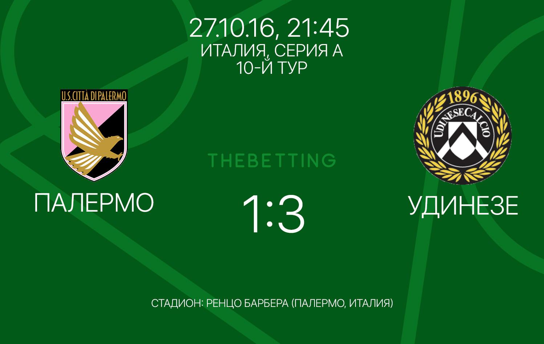 Результат матча Палермо - Удинезе Италия Серия А