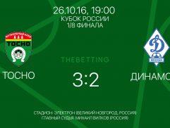 Результат матча 26 октября Тосно - Динамо Москва