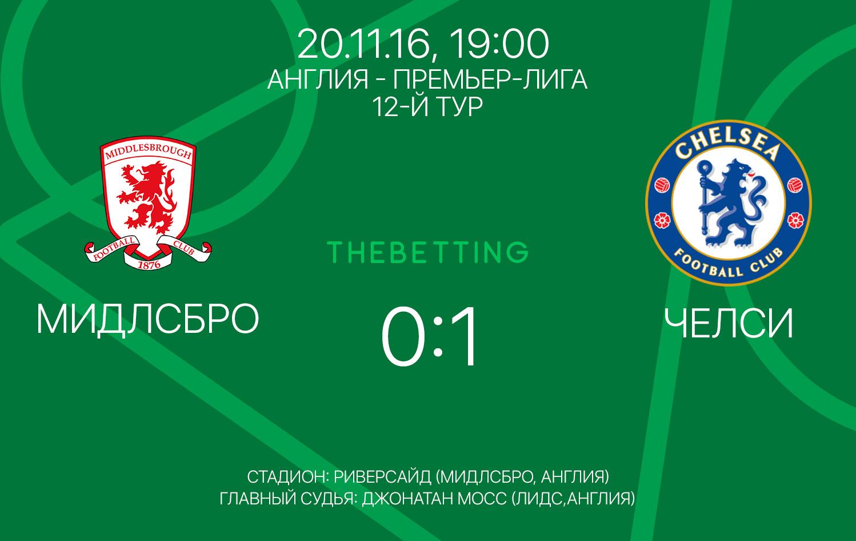 Мидлсбро - Челси обзор матча 20 ноября 2016