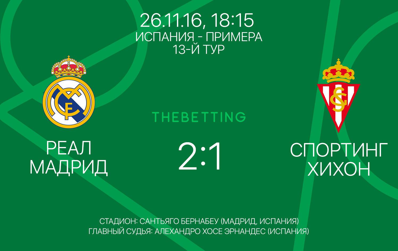 Реал Мадрид - Спортинг Хихон обзор матча 26 ноября 2016