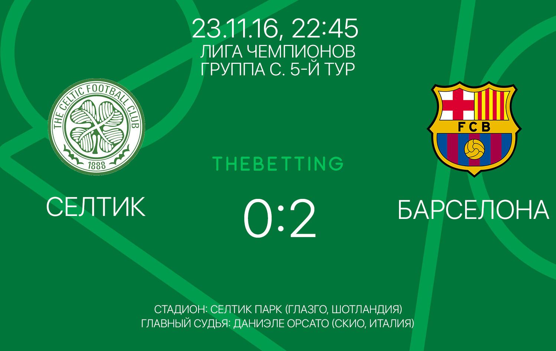 Селтик - Барселона обзор матча 23 ноября 2016