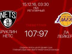 Обзор матча Бруклин Нетс - Лос-Анджелес Лейкерс 15 декабря 2016