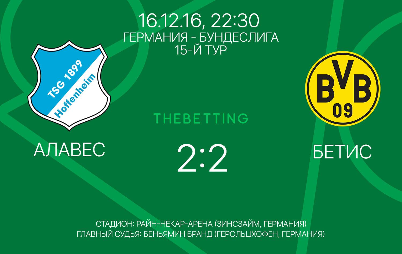 Обзор матча Хоффенхайм - Боруссия Д 16 декабря 2016