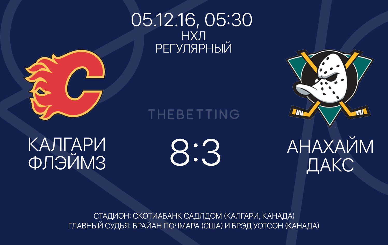 Обзор матча Калгари Флэймз - Анахайм Дакс 05 декабря 2016