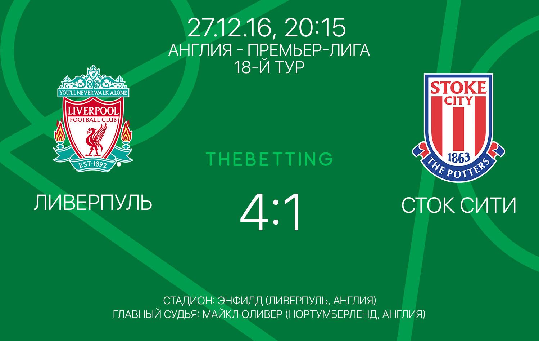 Обзор матча Ливерпуль - Сток Сити 27 декабря 2016