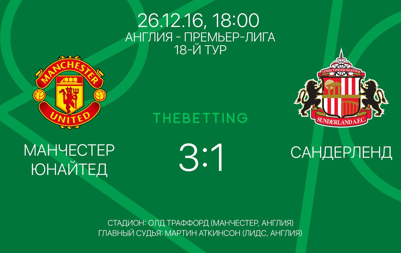 Обзор матча Манчестер Юнайтед - Сандерленд, 26 декабря 2016