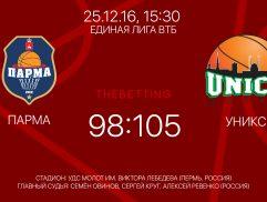 Обзор матча Парма - УНИКС 25 декабря 2016