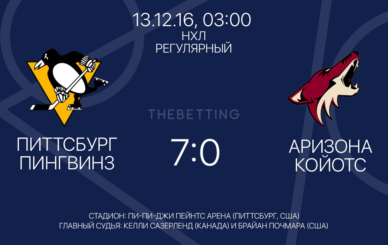 Обзор матча Питтсбург Пингвинз - Аризона Койотс 13 декабря 2016