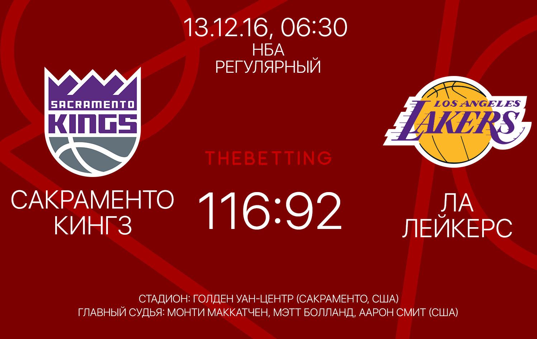 Обзор матча Сакраменто Кингз - Лос-Анджелес Лейкерс 13 декабря 2016