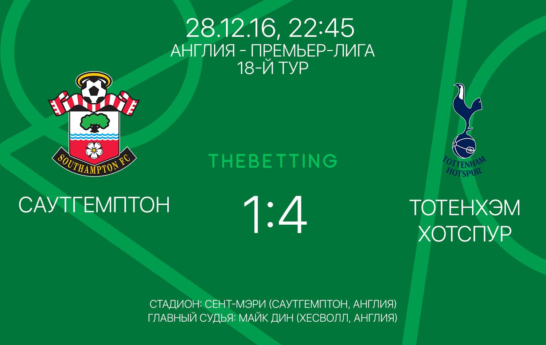 Обзор матча Саутгемптон - Тоттенхэм Хотспур 28 декабря 2016