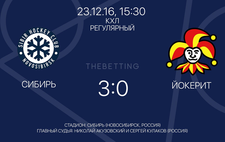 Обзор матча Сибирь - Йокерит, 23 декабря 2016