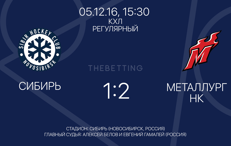 Обзор матча Сибирь - Металлург НК 05 декабря 2016
