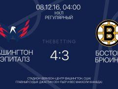 Обзор матча Вашингтон Кэпиталз - Бостон Брюинз 08 декабря 2016