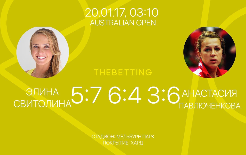 Обзор матча Элина Свитолина - Анастасия Павлюченкова 20 января 2017