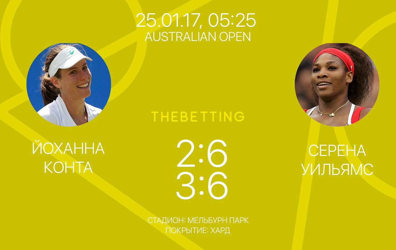 Обзор матча Йоханна Конта - Серена Уильямс 25 января 2017
