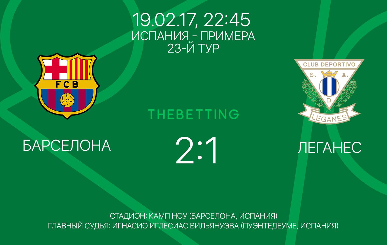 Обзор матча Барселона - Леганес 19 февраля 2017