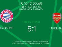 Обзор матча Бавария - Арсенал 15 февраля 2017