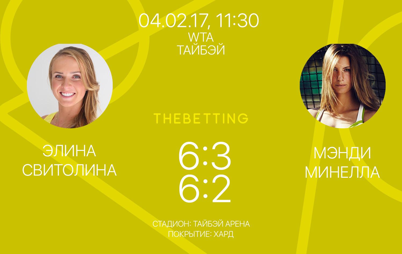 Обзор матча Элина Свитолина - Мэнди Минелла 04 февраля 2017