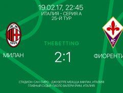 Обзор матча Милан - Фиорентина 19 февраля 2017