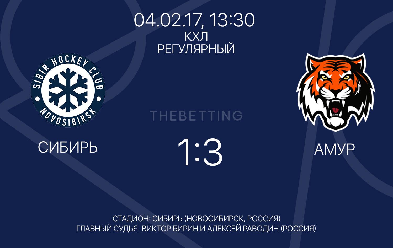 Обзор матча Сибирь - Амур 04 февраля 2017