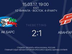 Обзор матча АК Барс - Авангард 15 марта 2017