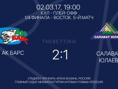 Обзор матча АК Барс - Салават Юлаев 02 марта 2017