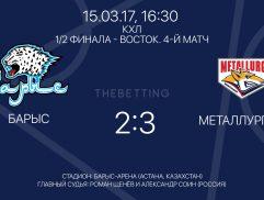 Обзор матча Барыс - Металлург МГ 15 марта 2017