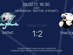 Обзор матча Барыс - Трактор 28 февраля 2017