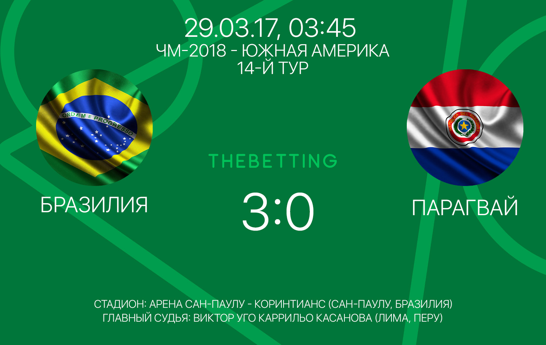 Обзор матча Бразилия - Парагвай 29 марта 2017