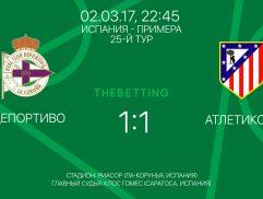 Обзор матча Депортиво - Атлетико М 02 марта 2017