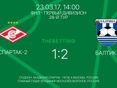 Обзор матча Спартак-2 - Балтика 23 марта 2017
