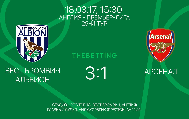 Обзор матча Вест Бромвич Альбион - Арсенал 18 марта 2017